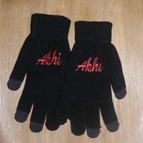 Black And Red Touch Screen Akhi Gloves